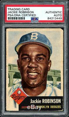 Jackie Robinson Autographié Signé 1953 Topps Carte 1 Dodgers Psa / Dna # 84213449