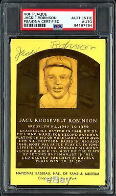Jackie Robinson Autographié Signé Hof Plaque Postcard Dodgers Psa / Adn 84187784