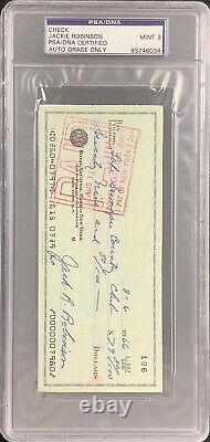 Jackie Robinson Signé Check Baseball Brooklyn Dodgers Hof Psa/adn Auto Mint 9