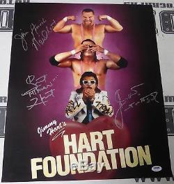 Jim Neidhart Jimmy Bret Hart Fondation A Signé Wwe 16x20 Photo Psa / Dna Autograph