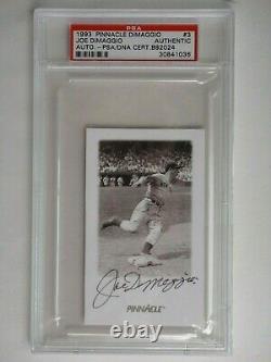 Joe Dimaggio Signé Psa /dna 1993 Pinnacle Card #3 Certified Slabbed