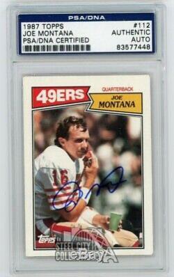 Joe Montana 1987 Autographié Carte Auto Topps # 112 Psa / Adn