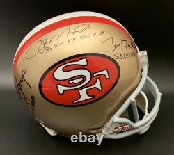 Joe Montana Steve Young Jerry Rice Signé 49ers F/s Helmet Psa/dna Autographié