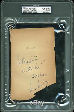 John F. Kennedy Avec Mes Meilleurs Vœux Signé 4x6.25 Cut Signature Psa / Adn Slabbed