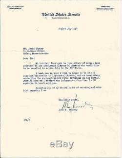 John Kennedy Jfk Lettre Signée 1954 Psa / Dna Authentique Authentique Autographe Rare
