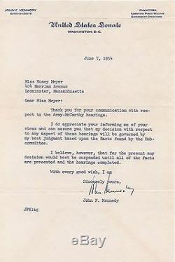 John Kennedy Jfk Lettre Signée 1954 Psa / Dna Authentique Autographiée Rare