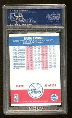 Julius Erving Dr J Autosigné Autographié 1987 Carte Fleer Psa / Adn 83857109