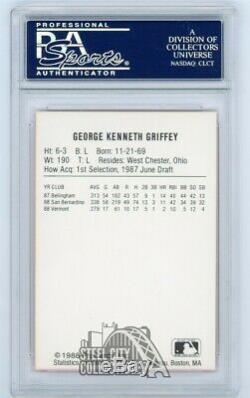 Ken Griffey Jr 1988 Procards Autographié Auto Rookie Rc Carte Psa / Adn