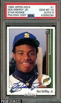 Ken Griffey Jr. Signé 1989 Upper Deck # 1 Rc Rookie Hof Psa 10 Psa / Adn Pop 2