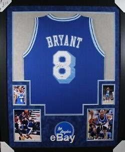 Kobe Bryant Jersey Signé Rare # 8 Lakers Bleu! Suede Personnalisée Encadrée Coa Psa / Adn