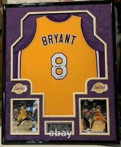 Kobe Bryant Vintage 2001 Nom Complet Autographié Encadré Jersey Psa/dna&beckett Coa