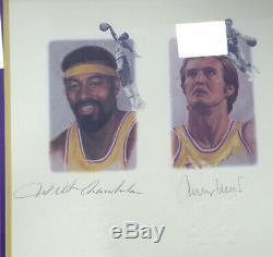 Lakers Legends Autographié Encadrée Lithograph 5 Sigs Chamberlain Psa / Adn 113533