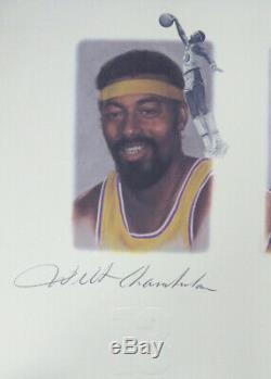 Lakers Legends Autographié Lithograph 5 Sigs Chamberlain Jabbar Psa / Adn 111013