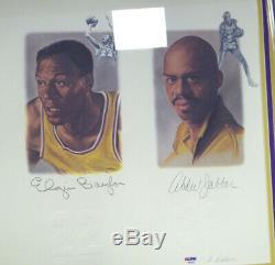 Lakers Legends Lithographie Encadrée Autographiée 5 Sigs Chamberlain Psa / Dna 113533