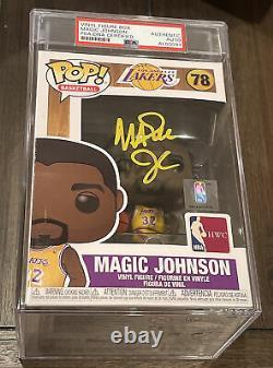 Lakers Magic Johnson A Signé Nba #78 Funko Pop Bas Psa/adn Encapsulé