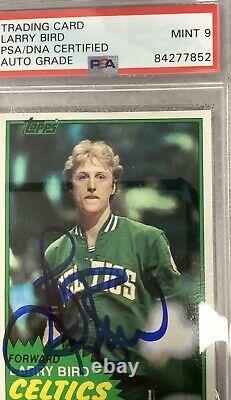 Larry Bird Signed 1981 Topps #4 Psa/dna Mint 9 Autograph Celtics Basketball Card