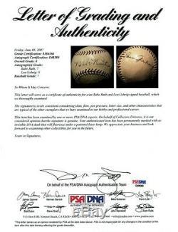 Le Finest Babe Ruth Et Lou Gehrig Signé Adn Baseball Psa Graded Mint 8