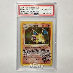 Le Psa / Adn De Charizard Pokemon Autograph # 4/130 Mitsuhiro Arita Holo Base 2