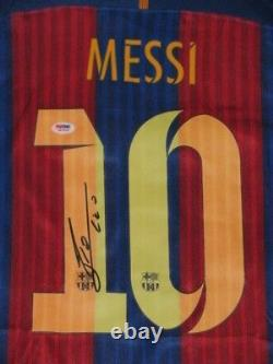 Leo Messi Main Signée Barcelona Soccer Jersey + Psa Dna Coa Acheter Authentique