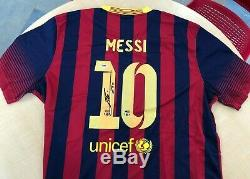 Lionel Messi Autographié Signé Jersey Nike Psa / Fc Barcelone Adn Legit