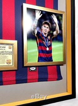 Lionel Messi Prime Encadrée Autographié / Signé Barcelone Jersey Psa / Adn Coa