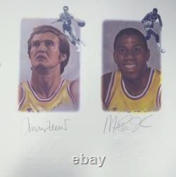 Lithographie Dédicacée Lakers Legends 5 Sigs Chamberlain Jabbar Psa/dna 111013