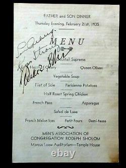 Lou Gehrig Psa/dna Certifié Authentique Signé 1935 Menu Autographié Rare