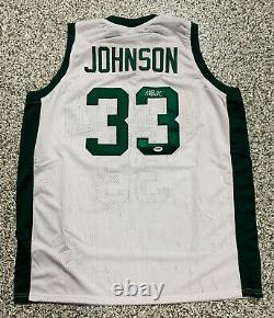 Magic Johnson A Signé White/green Michigan State Jersey Auto Psa Dna Coa