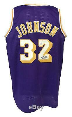 Magic Johnson Autographed Pro Custom Style Violet Jersey Psa / Adn Assermentée