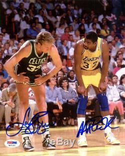 Magic Johnson & Larry Bird Autographié Signé 8x10 Photo Psa / Adn Itp 119622