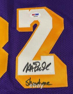 Magic Johnson Signé Purple Jersey Avec Showtime Inscription Auto Psa Dna Coa