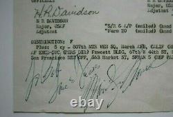Marilyn Monroe Signé Note À Bob Love & Kiss Daté Juillet 9,1954 Psa/dna Coa