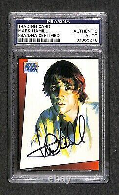 Mark Hamill Luke Skywalker Topps Star Wars Signé Carte Autographiée Psa / Adn