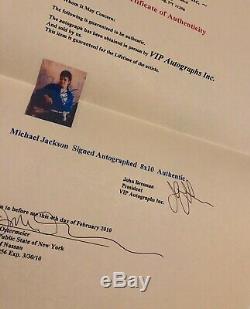Michael Jackson Vintage Autographié 8x10 Coa Psa / Adn