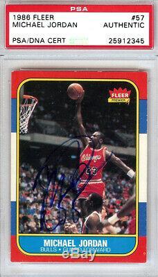 Michael Jordan 1986 Autographiée Par Fleer Rookie Card Vintage Psa / Dna 25912345