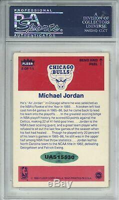 Michael Jordan Signé 1986 Fleer Autocollant # 8 Rookie Card Slabbed Psa / Adn
