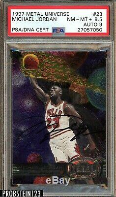 Michael Jordan Signé 1997 Métal Universe # 23 Hof Psa 8.5 Psa / Adn 9 Auto Uda