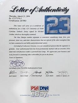 Michael Jordan Signé Unc Nike Swingman Jersey Avec Psa / Adn D'authentification Non Uda
