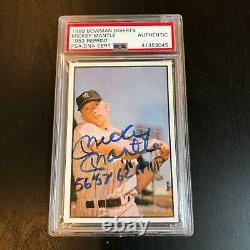 Mickey Mantle 1956, 1957, 1962 Mvp Signé 1953 Bowman Rp Carte De Baseball Adn Psa