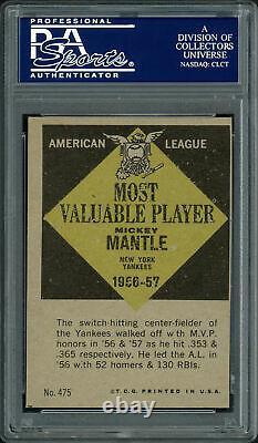 Mickey Mantle Autographié Signé 1961 Carte # 475 Yankees Topps Psa / Adn 83588027
