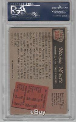 Mickey Mantle Psa / Dna Certifié Signé 1955 Carte Bowman # 202 Autographiée, Rare