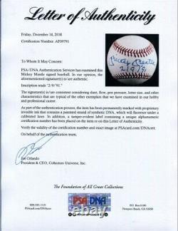 Mickey Mantle Signé Baseball Auto Autograph Nl Ball Menthe Blanche Avec Cube Psa / Adn
