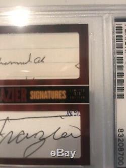 Muhammad Ali Et Joe Frazier Combat Superbe # Card Signed 'd 1/1 Psa / Adn Slabbed