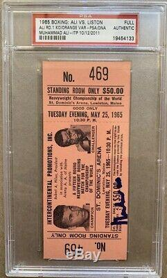 Muhammad Ali Signé Authentique Orange Ticket 1965 Liston Lutte Psa Adn Pti