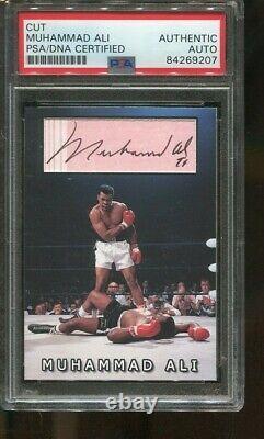 Muhammad Ali Signé Custom Card Cut Autographed Boxing Psa / Adn 9207