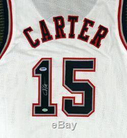 New Jersey Nets Vince Carter Autographié Signé Jersey Blanc Psa / Adn 141208