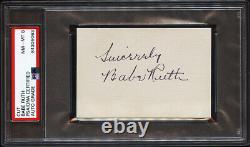 Ouf! Babe Ruth A Signé Autographied Cut Nm-mt Grade 8 Psa/adn Encapsulé