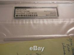 Patsy Cline Signé Enveloppe Psa / Adn Authentique Auto I Fall To Pieces Decca Fou