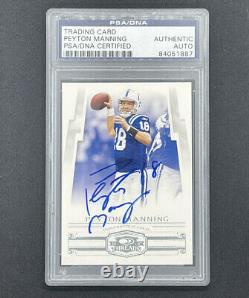 Peyton Manning 2007 Threads Psa/adn Carte Signée Autographe Colts