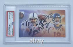 Peyton Manning Psa Dna Coa Signé Auto Autographe Photo Card Colts Broncos Hof